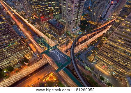 Sathorn Intersection, Bts Chong Nonsi, Downtown Bangkok, Thailand.