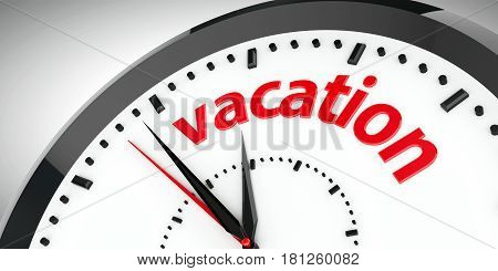 Black clock with Vacation represents time vacation concept three-dimensional rendering 3D illustration