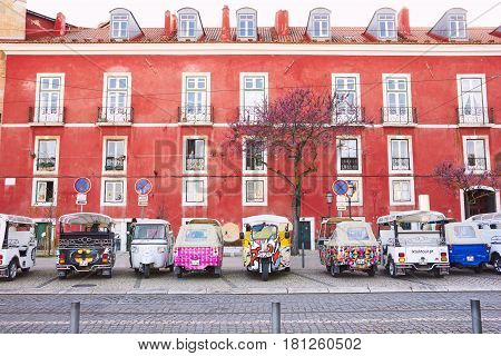 Lisbon, Portugal - March 15, 2017: Tuk-tuk In A Row In Alfama, Lisbon, Portugal