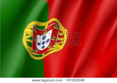 National flag of Portugal country. Patriotic sign in official nation portuguese colors: green, red and yellow. Symbol of Sounhern European state. Vector icon illustration