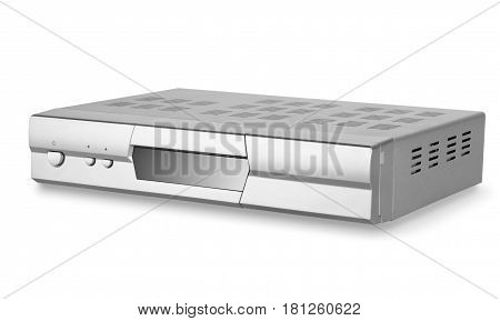 DVD player with tuner isolated on a white background. Clipping Path