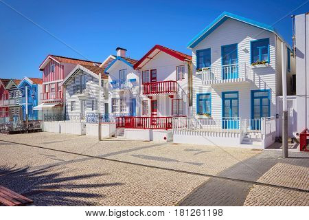 Fisherman's Village With Striped, Houses, Portugal, Costa Nova