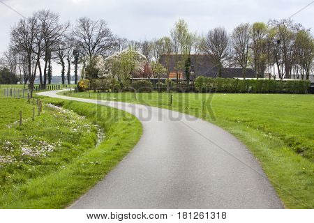 Rural winding country road landscape in Nunspeet in the Netherlands