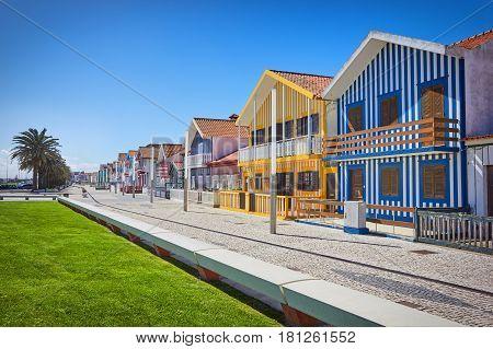Fisherman's village and Embankment Costa Nova Aveiro Portugal