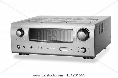 Hi-Tech AV receiver isolated on white background. Clipping Path