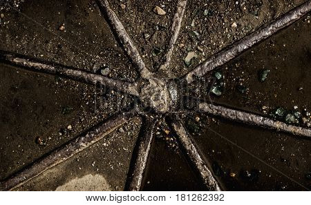 Abstract grunge metal background, grunge texture. Grunge background. Gray grunge. Manhole. Metal grunge.