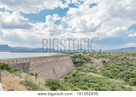 The wall of the Nqweba Dam at Graaff Reinet a town in the Eastern Cape Province of South Africa