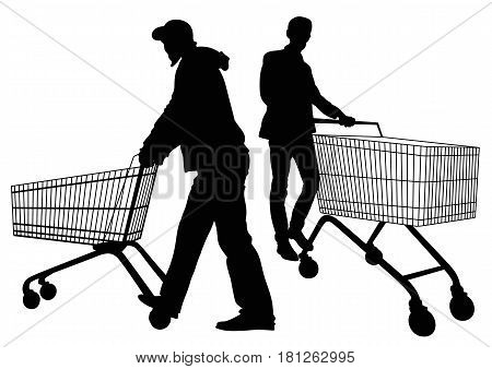 Silhouettes of men with shopping trolleys - vector