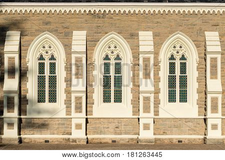 Windows of the Dutch Reformed Church in Graaff Reinet built 1885-1887. It is one of more than 200 buildings in the town declared as a national monument