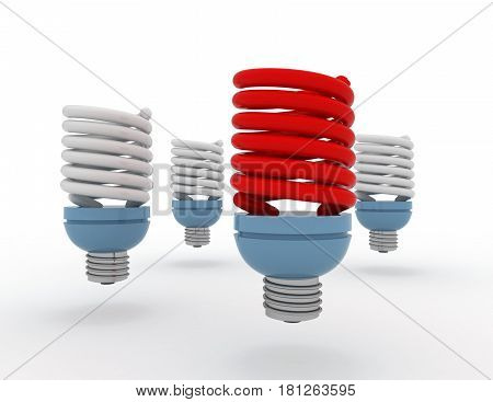 Light Bulb.individuality And Different Creative Idea Concepts . 3D Rendered Illustration