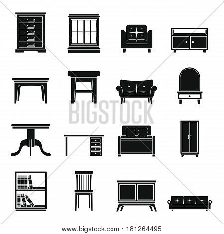 Set flat black silhouette office and house furniture. Elements for furniture design infographics labels advertising and web sites.