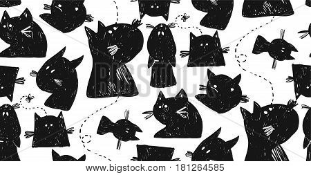 Hand drawn seamless vector pattern of cat silhouettes.Design elements for home decor, sign, halloween background, greeting cards, poster, logo, font, party.Halloween pattern in black and white