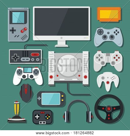 Computer digital video online game console game tools vector set. Colour flat