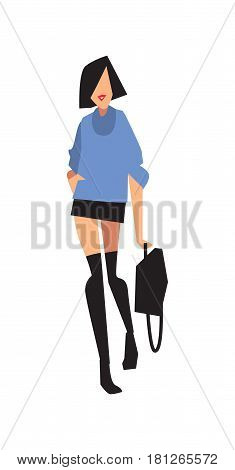 Elegant fashion girl in mini skirt and sweater vector illustration isolated on white background. Pretty young woman, glamour model in flat design.