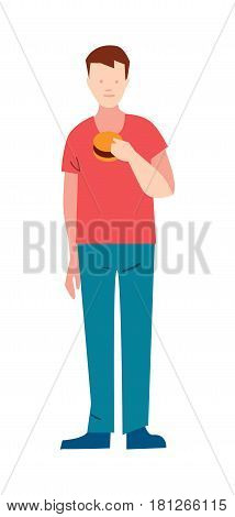 Slender young man with hamburger vector illustration isolated on white background. Male character eating in flat design.
