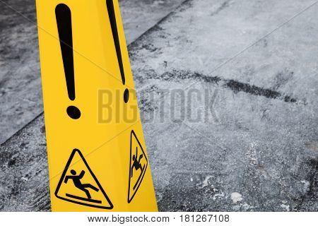 Caution Wet Floor, Yellow Warning Sign Fragment