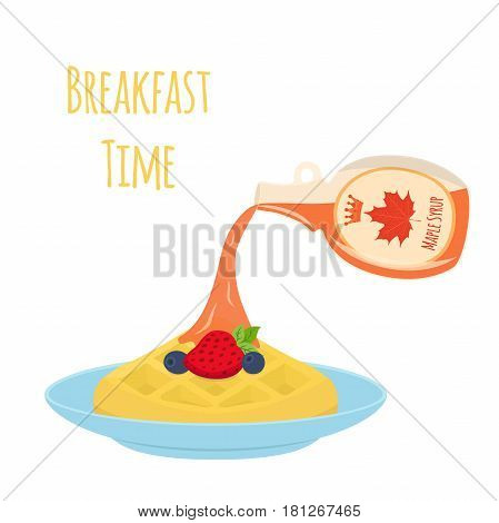 Sweet waffle with berries  and syrup for breakfast. Strawberry, blueberry on plate. Made in cartoon flat style. Restaurant meal with maple syrup.