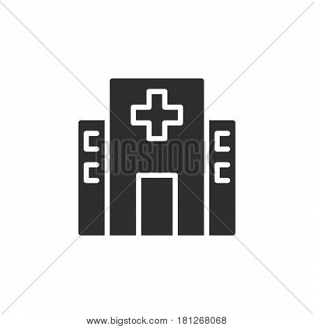 Hospital building icon vector filled flat sign solid pictogram isolated on white. Symbol logo illustration. Pixel perfect