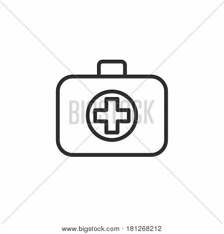 Medical bag line icon outline vector sign linear style pictogram isolated on white. First aid kit symbol logo illustration. Editable stroke. Pixel perfect