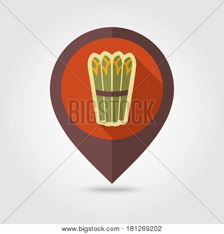 Asparagus flat vector pin map icon. Map pointer. Map markers. Vegetable vector illustration eps 10