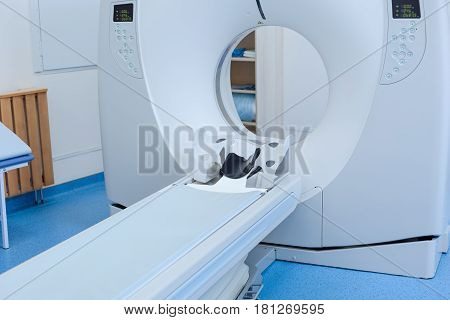 Professional equipment. Close up of a CT scanner ready to be used standing in the hospital laboratory