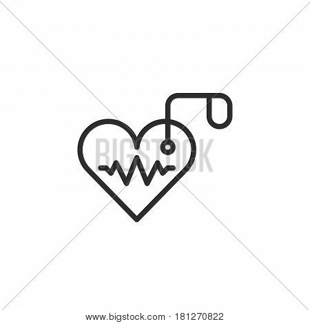 Artificial cardiac pacemaker line icon outline vector sign linear style pictogram isolated on white. Symbol logo illustration. Editable stroke. Pixel perfect