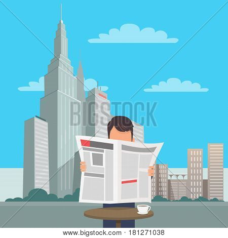 Man at table with cup of coffee reads newspaper with New York cityscape on background. State buildings, city skyscrapers, bushes and clouds in city center. Vector illustration of downtown scene.