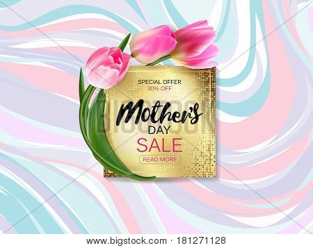 Mother's day sale shopping special offer holiday banner flat vector illustration. Golden plate on marble background