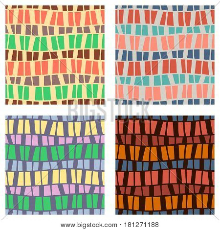 Set Of Seamless Vector Patterns. Colorful Geometric Background In Brown, Green, Yellow Colors. Graph