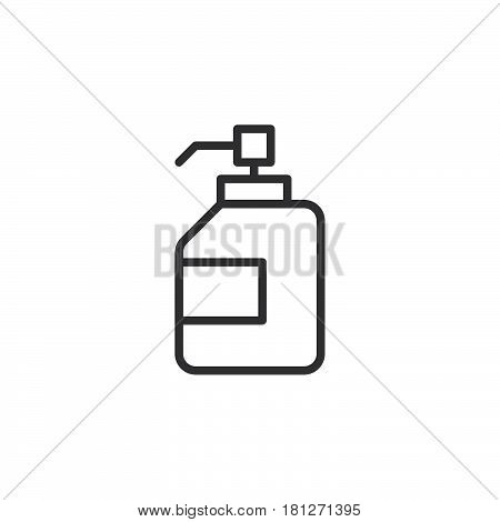 Antibacterial hand sanitizer disinfection gel line icon outline vector sign linear style pictogram isolated on white. Symbol logo illustration. Editable stroke. Pixel perfect