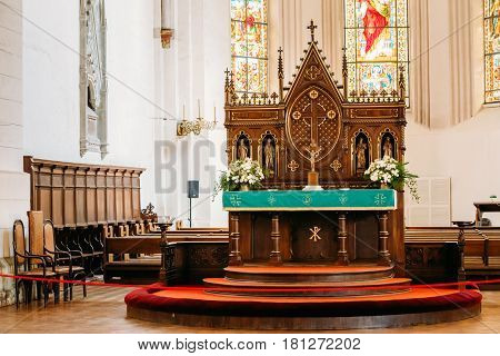 Riga, Latvia - July 2, 2016: Riga, Latvia. Interior Of The Riga Dom Dome Cathedral. Altar In Church.