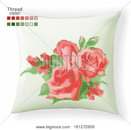 Template for cross stitch red rose on pillow nock up. Vector pattern for embroidery or needlework.