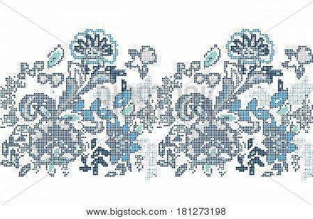 Template for cross stitch blue folk flowers pattern. The vector embroidered flowers