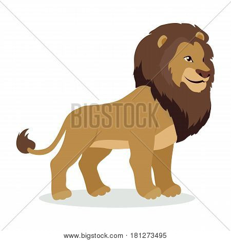 Lion cartoon character. Adult lion male flat vector isolated on white background. African fauna. Lion with mane icon. Wild animal illustration for zoo ad, nature concept, children book illustrating