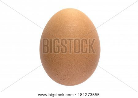 Orthodox easter single egg in natural brown color with speckles isolated on white background. No shadows.