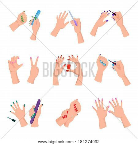 Women arms with colorful manicured nails set. Arms hold nail varnish bottle, files, brushes and manicure demonstration gesture isolated on white background. Salon beauty service vector illustration.