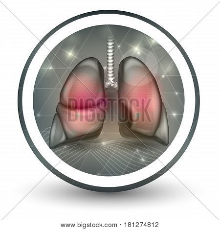 Lungs Round Shape Icon