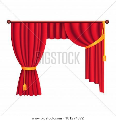 Heavy drapes of red fabric gathered with gold tie back ribbon and tassels isolated vector. Classic curtain in victorian style on cornice illustration for window dressing and interior design concepts
