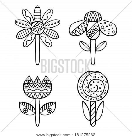Set Of Vector Hand Drawn Decorative Stylized Childish Flowers. Doodle Style, Graphic Illustration. O