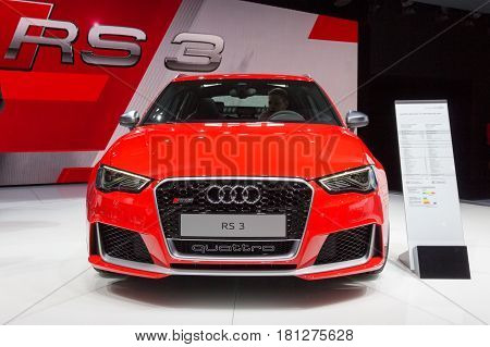GENEVA SWITZERLAND - MARCH 4 2015: Audi RS3 Sportback Quattro at the 85th International Geneva Motor Show in Palexpo Geneva.
