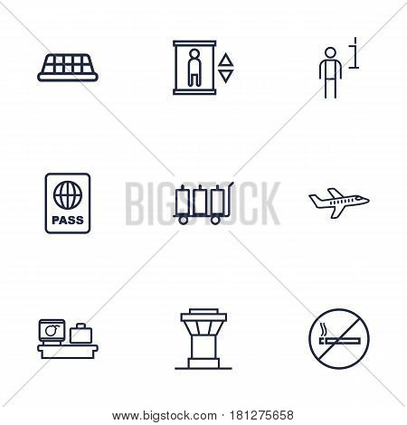 Set Of 9 Aircraft Outline Icons Set.Collection Of Plane, No Smoking, Luggage Trolley And Other Elements.