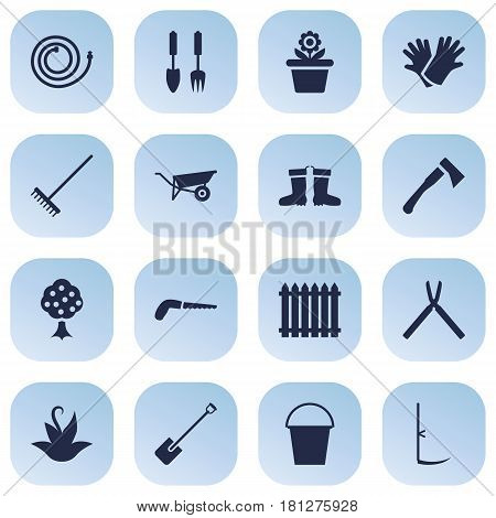 Set Of 16 Horticulture Icons Set.Collection Of Rubber Boots, Tools, Cutter And Other Elements.