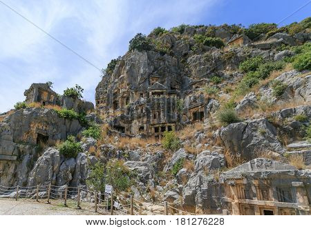 Ancient Necropolis  Carved Into Vertical Faces Of Cliffs In Lyci