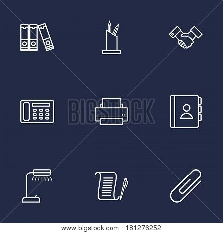 Set Of 9 Work Outline Icons Set.Collection Of Contacts, Reading-Lamp, Document Case And Other Elements.