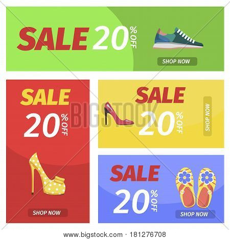 Shop now with 20 percent discount banners set. Summer sale in shoes store poster. Buy elegant stilettos, comfortable sneakers, summer flip-flops and stylish mules with 20 off, vector illustration.