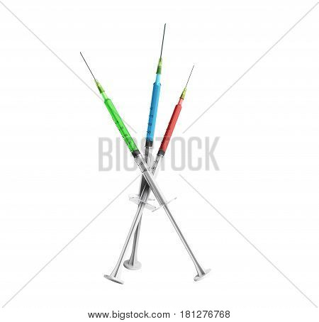 single use syringes 3d render no shadow