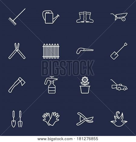Set Of 16 Horticulture Outline Icons Set.Collection Of Harrow, Spade, Secateurs And Other Elements. poster