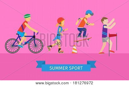 Sport set of man and woman. Boys and girls roller skate and skateboarding and cycling flat design style. People run in the competition. Skateboarder, girl rollerblading, guy near the bike and runner.