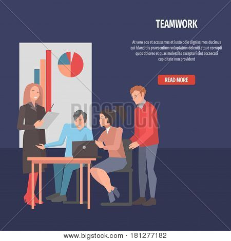 People resolving issues on black laptop teamwork isolated on dark. Vector illustration of men and women sitting and standing at table with open notebook, white poster with color graphs located behind.