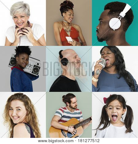 Collection of people with recreation leisure song